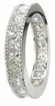 Milgrain Channel Set Princess Cut Cubic Zirconia Eternity Band