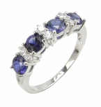 Daniella Alternating Man Made Sapphire and Cubic Zirconia Round Anniversary Band