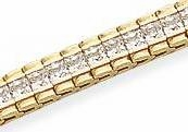 Rolex Inspired Princess Tennis Bracelet Featuring Ziamond Cubic Zirconia