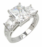 Romero 2.5 Carat Radiant Emerald Cut And Princess Cut Cubic Zirconia Three Stone Engagement Ring