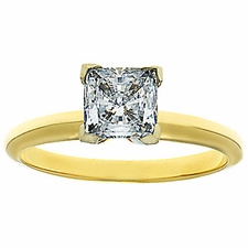 Princess Cut Cubic Zirconia Tiffany Style Solitaire Engagement Rings