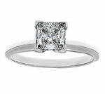 1 Carat Princess Cut Cubic Zirconia Tiffany Style Classic Solitaire Engagement Ring