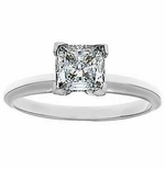 1.5 Carat Princess Cut Cubic Zirconia Tiffany Style Classic Solitaire Engagement Ring