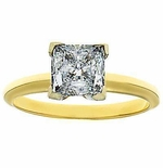 2.5 Carat Princess Cut Cubic Zirconia Tiffany Style Classic Solitaire Engagement Ring