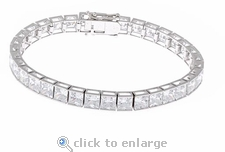 .75ct Each Channel Set Princess Cut Bracelet Featuring Ziamond Cubic Zirconia