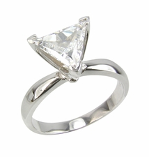 Trillion Triangle Cut Cubic Zirconia Tiffany Style Solitaire Engagement Rings
