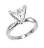 2.5 Carat Triangle Trillion Cut Cubic Zirconia Tiffany Style Classic Solitaire Engagement Ring