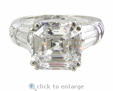 Quatro 4 Carat Asscher Cut Cubic Zirconia Split Prong Channel Set Baguette Solitaire Engagement Ring
