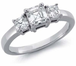 Three Stone 2.5 Carat Center Asscher Cut Cubic Zirconia Solitaire Engagement Ring