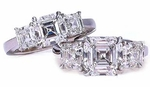 Three Stone 4 Carat Center Asscher Cut Cubic Zirconia Solitaire Engagement Ring