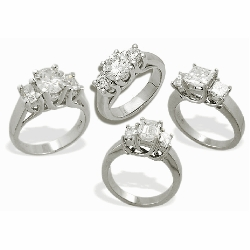 Luccia Three Stone Rings Featuring Ziamond Cubic Zirconia