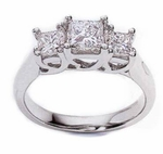 Three Stone Princess Cut Luccia Rings