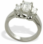 Three Stone Emerald Cut Luccia Rings