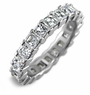 Small .25 Carat Each Asscher Cut Cubic Zirconia Prong Set Eternity Band
