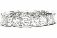 Asscher Cut Prong Set Cubic Zirconia Eternity Bands