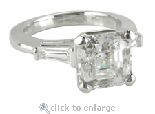 4 carat Asscher Cut Inspired Cubic Zirconia Baguette Solitaire Engagement Ring