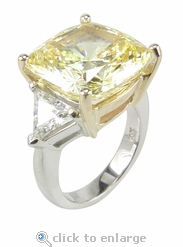 5.5 carats Cushion Cut with Trillions Ring Featuring Ziamond Cubic Zirconia