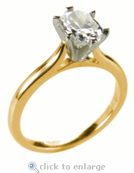 5.5 ct Oval Ziamond Cathedral Solitaire