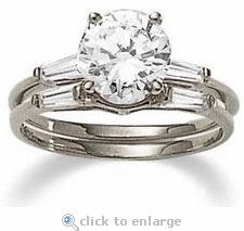 5.5 ct. Round Baguette Solitaire With Matching Band