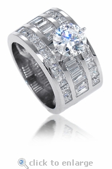 Driscoll Round Channel Set Baguette And Princess Cut Cubic Zirconia Solitaire
