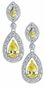 Rochelle Canary Diamond Look Pear Halo Pave Set Round Drop Earrings