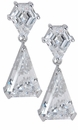 Triangla Custom Cut Kite Shaped Cubic Zirconia Triangle Drop Earrings