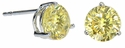 Three Prong 1 Carat Each Round Canary Diamond Look Cubic Zirconia Stud Earrings