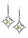 Dazzle Princess Cut Canary Diamond Look Cubic Zirconia Pave Drop Leverback Earrings