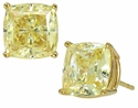 4 Carat Each Cushion Cut Cubic Zirconia Simulated Canary Diamond Stud Earrings