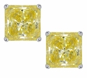 4 Carat Each Princess Cut Cubic Zirconia Simulated Canary Diamond Stud Earrings