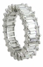 Emerald Cut Shared Prong Set Cubic Zirconia Eternity Band