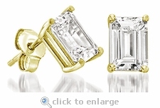.75 ct. Each Emerald Step Cut Stud Earrings Featuring Ziamond Cubic Zirconia