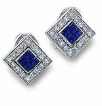 Bezel Set Square and Round Pave' Earrings