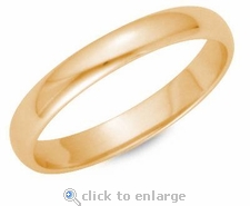 3mm Comfort Fit Wedding Band 14K Solid Yellow Gold