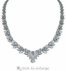Versailles 3 Carat Pear Drop Cubic Zirconia Cluster Necklace