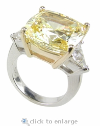 7 carats Cushion Cut with Trillions Ring Featuring Ziamond Cubic Zirconia