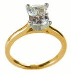1.5 ct. Emerald Cut Cathedral Solitaire Featuring Ziamond Cubic Zirconia