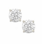.50 Carat Each Round Cubic Zirconia Stud Earrings