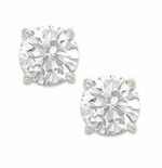 1 Carat Each Round Cubic Zirconia Stud Earrings