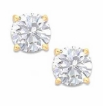 1.50 Carat Each Round Cubic Zirconia Stud Earrings