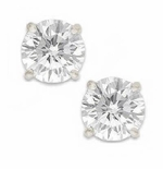 2 Carat Each Round Cubic Zirconia Stud Earrings