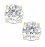 2.50 Carat Each Round Cubic Zirconia Stud Earrings