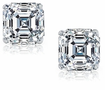 2.5 ct. Each Asscher Cut Inspired Earring Studs Featuring Ziamond Cubic Zirconia
