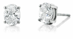 4 ct. Each Oval Stud Earrings Featuring Ziamond Cubic Zirconia