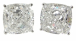 2.5 Ct. Each Cushion Cut Studs Featuring Ziamond Cubic Zirconia