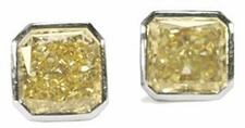 Princess Cut Bezel Cubic Zirconia Stud Earrings