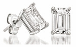 2.5 ct.  Each Emerald Step Cut Stud Earring Collection Featuring Ziamond Cubic Zirconia