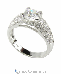 Pave Panther Solitaire Engagement Ring