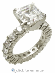 Asscher Inspired 2.5 Carat Cubic Zirconia Eternity Solitaire Engagement Ring