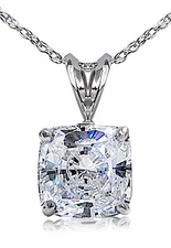Cushion Cut Cubic Zirconia Classic Solitaire Basket Set Pendants